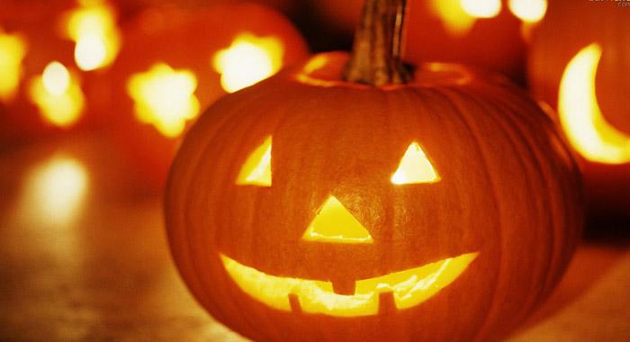 mesa de halloween abobora