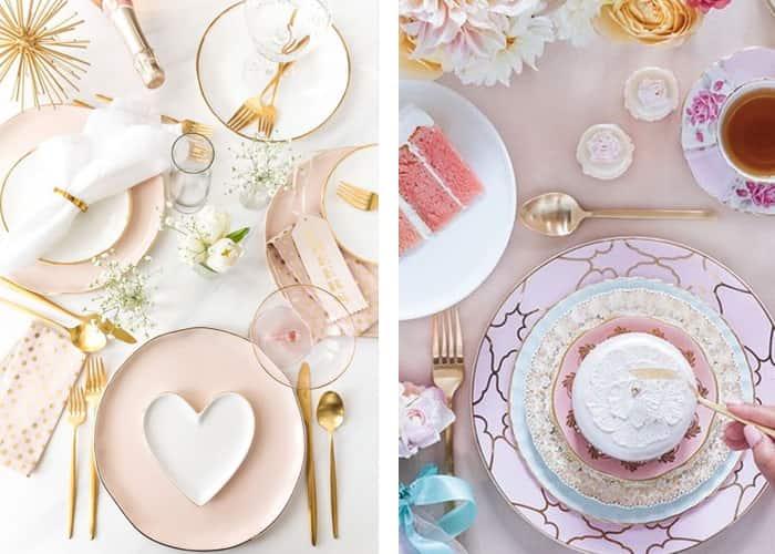 aparelho de jantar colorido romantico